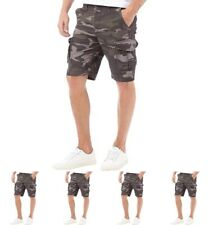 NEW JACK AND JONES Mens Preston Cargo Shorts Camo Grey Small Waist 30""