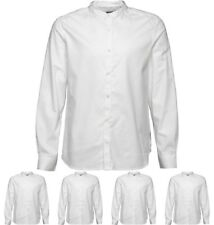 DI MODA French Connection Mens Oxford Henley Long Sleeve Shirt White Small Ches