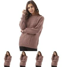 BRAND Jacqueline De Yong Womens Rabbit Long Sleeve Knitted Jumper Rose Taupe UK