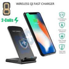 Qi Wireless 2-Coils Charger Charging Stand Dock Cradles For iPhone X/8/Plus Lot