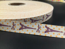 """5-100Y 5/8"""" Cotton Ribbon tower Design Home Party Decor DIY Sewing Craft 15mm"""
