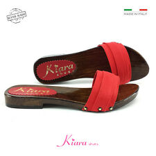 Holzschuhe niedrig rot Schuhe made in italy 35-36-37-38-39-40-41-42 Absatz 2 cm