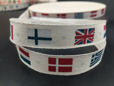 5-100Y Cotton Ribbon Design flag Home Party Decor DIY Sewing Craft 15mm