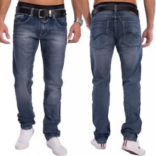 Hombre Ajustado Slim Fit Jeans Pantalones vaqueros azul oscuro Stretch LOCAL
