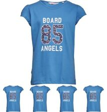 FASHION Board Angels Girls T-Shirt With Floral 85 Print Blue 5-6 Years 110cm He