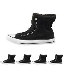 DI MODA Converse Womens CT All Star Hi Suede Fur Trainers Black/White UK 3 Euro