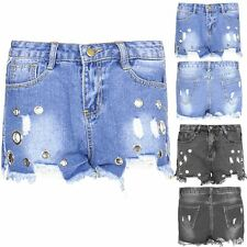 Women Ripped Ring Eyelet Slim Denim Short Pants Raw Edges Stretch Jeans Trousers