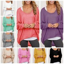Womens Knitted Long Batwing Sleeve Pullovers Loose Oversized Blouses Casual Tops