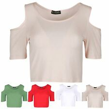 Womens Ladies Cold Cut Shoulder Short Sleeve Round Neck Stretchy Plain Crop Top