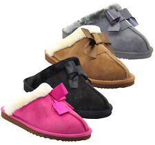 Women Winter Faux Fur Slippers Ladies Fur Lined Bow Slip on Snug Flat Shoes