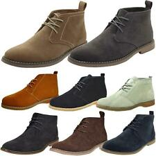 Mens Faux Suede Leather Style Desert Boots Lace Block Heel High Top Shoes