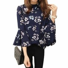 2016 Autumn Floral Chiffon Blouse Women Tops Flare Sleeve Shirt Women Ladies Off