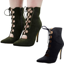 New Ladies Faux Suede High Heel Stiletto Women Party Point Toe Ankle Boots Shoes