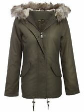 New Ladies Sequin Detail Khaki Camo Fur Hooded Winter Parka Jacket 8-16