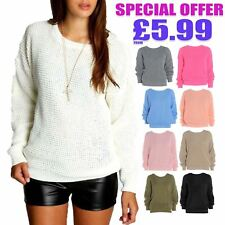 Ladies Women Oversized Baggy Jumper Plain Colour Chunky Knitted Sweater Pullover