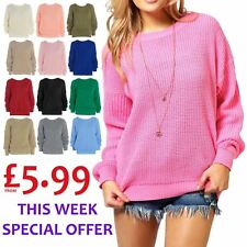 Ladies Womens Plain Colour Chunky Knitted Baggy Jumper Oversized Pullover Top