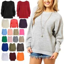 New Womens Plain Colour Chunky Knitted Baggy Jumper Warm Pullover Oversized Top