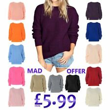 Ladies Plain Colour Chunky Knitted Baggy Jumper New Womens Pullover Sweater Tops