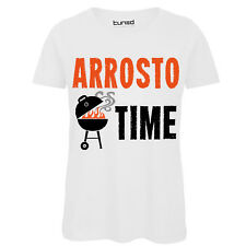T-Shirt Divertente Donna Maglia Con Stampa Frase Ironica Barbecue Arrosto Time
