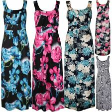 Womens Seasonal Floral Print Sleeveless Tropical Plus Sise Long Maxi Dress 14-28