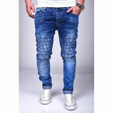 Uomo Biker Jeans Blue Game trapuntato skinny slim fit strappato 84 MAINSTREAM