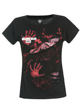 THE WALKING DEAD LOGO BLOOD mano STAMPE Ladies STRAPPATO TOP NERO