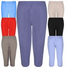 Womens Calf Length Trousers Elasticated Plain Cropped Capri Shorts Pants
