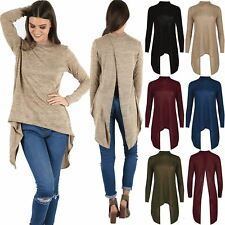 Ladies Open Back High Low Hanky Hem Womens Marl Knitted Polo Neck Wrap Over Top