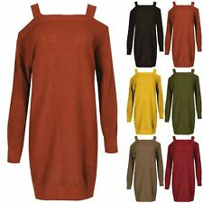 Ladies Casual Cold Cut Shoulder Chunky Knitted Pullover Womens Jumper Mini Dress