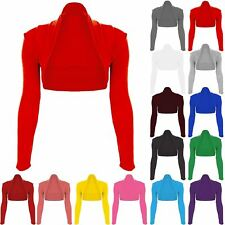 Womens Open Front Bolero Cropped Long Sleeve Cocktail Evening Cardigan Shrug Top