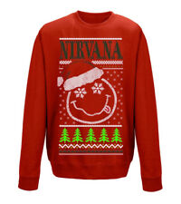 NIRVANA 'Smiley NATALE' Crew Neck Sweatshirt - NUOVO E ORIGINALE