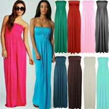New Style Womens Strapless Maxi Dress Ladies Sheering Boob tube Bandeau Long Lot