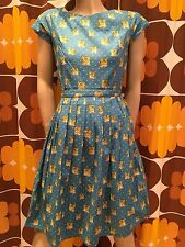 Mujer Run & Fly Retro Vintage Estilo 50's Vestido tea dress con gato & ESTAMPADO