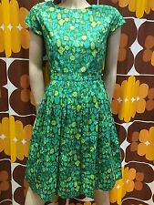 Mujer Run & Fly Retro Vintage Estilo 50's Vestido Tea Dress en Verde con Cactus