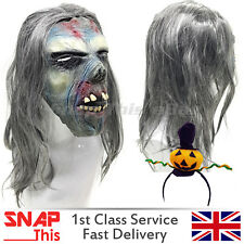 Maschera Di Zombie Capelli Cosplay FACCIA lattice horror adulto Halloween Party