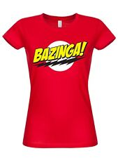 THE BIG BANG THEORY BAZINGA Super LOGO GIRLY Camiseta Rojo