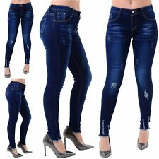 Ladies Womens Knee Destroyed Distress Ankle Stitched Ripped Skinny Denim Jeans
