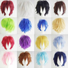 Punk Male Female Straight Short Hair Wig Cosplay Party Anime Full Wig Multi-Colo