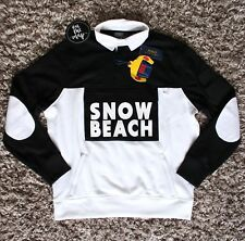 Polo Ralph Lauren Snow Beach Rugby Shirt Sweatshirt Black White Large L XL New