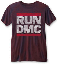 RUN DMC 'Vintage Logo' (Navy/Red) Burnout T-shirt - NUOVO E ORIGINALE