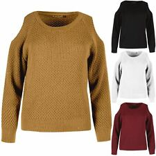 Ladies Womens Cold Shoulder Knitted Full Sleeves Cable Knit Warm Jumper Sweater