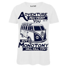 T-Shirt Divertente Donna Maglietta Con Stampa Frasi Adventure May Hurt You Tuned