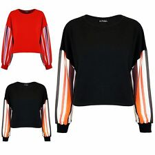 New Womens Oversized Ladies Fleece Loose Fit Batwing Stripes Sleeve Cropped Top