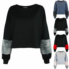 Womens Oversized Ladies Loose Fit Batwing Contrast Faux Fur Sleeves Cropped Top
