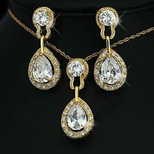 de luxe Set collier boucles d'OREILLE ZIRCON BLANC Plaqué Or 750 18 carats S1780