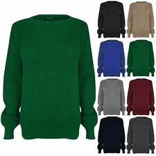 Kids Unisex Chunky Knitted Plain Long Sleeves Crew Neck Top Sweater Jumper