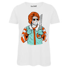 T-Shirt Divertente Donna Maglietta Cotone Con Stampa Grunge Clown Killer Tuned