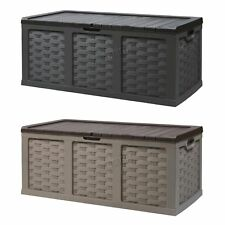 Starplast Garden Rattan Plastic Storage Chest Shed Box Sit-On Lid Utility 535L