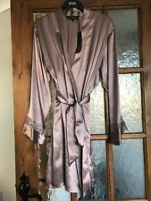Stunning BNWT M&S Rosie @ Autograph praline luxurious silk dressing gown robe 8