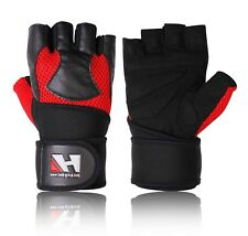 GYM LEATHER GLOVES FITNESS GEL PADDED WRIST WRAPS SUPPORT BODY BUILDING GLOVES
